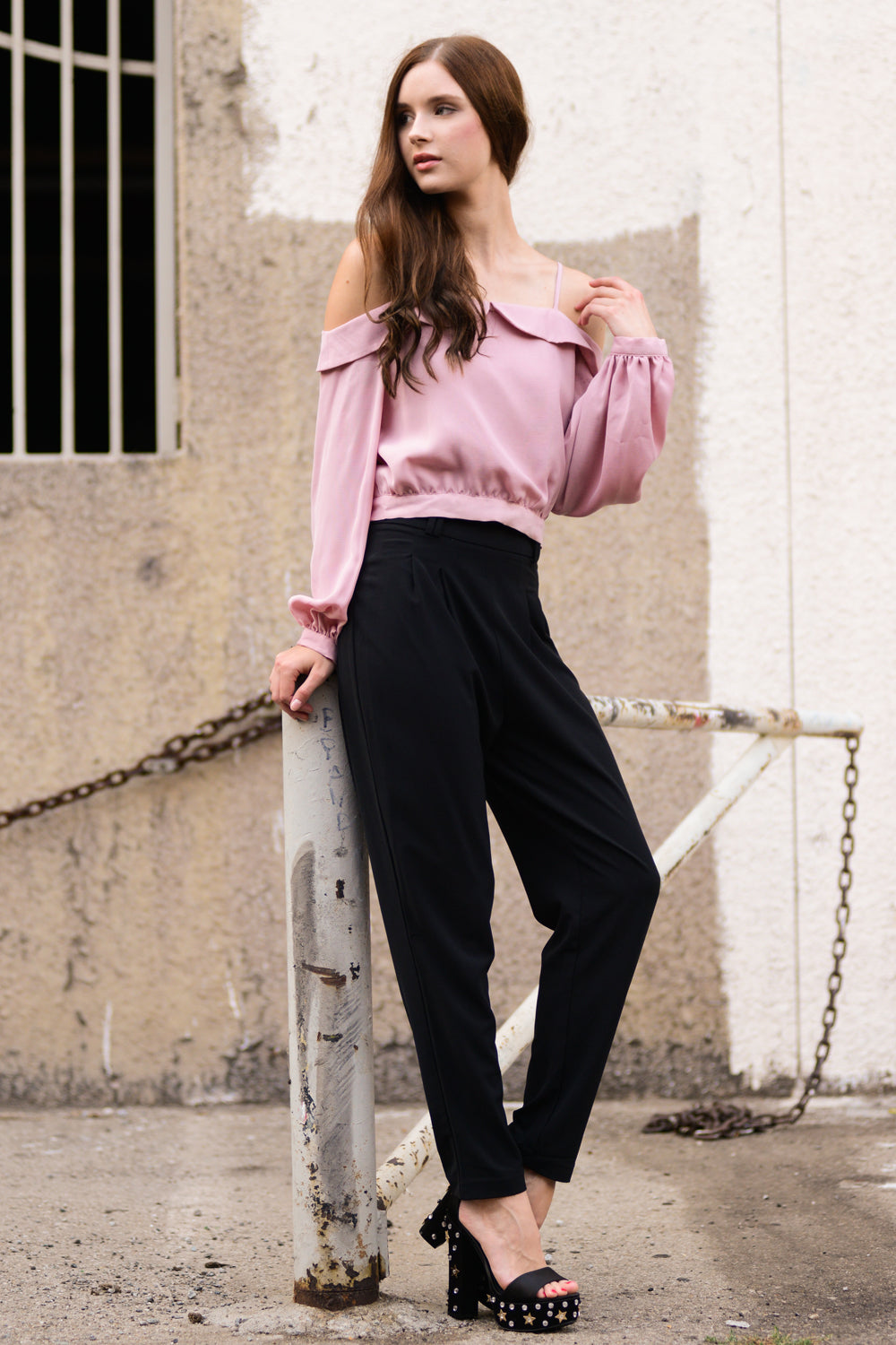 High-Rise Frill Edge Trousers