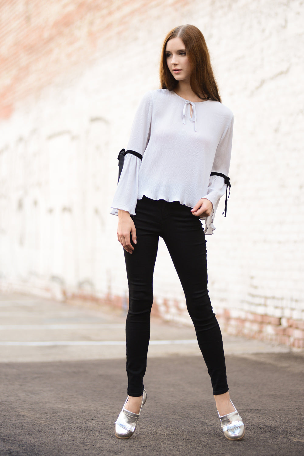 Shirttail Hem Tie Sleeve Top