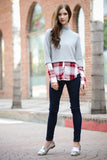 Knit Plaid LSLV Sweater Top
