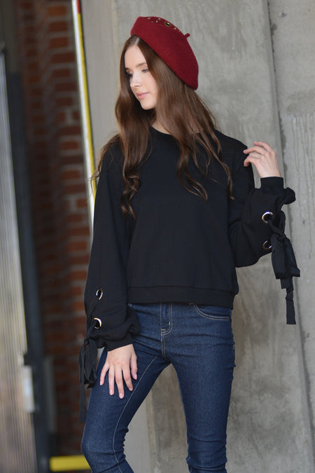 Flared Sleeve Rib Knit Top