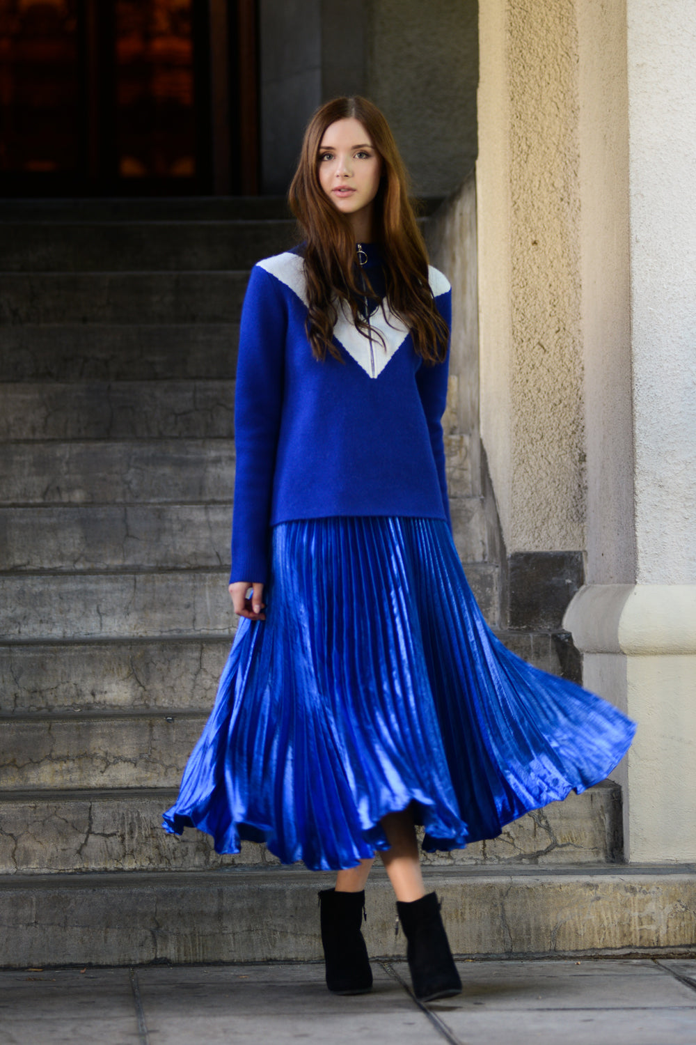 Metallic Stain Pleated Skirt