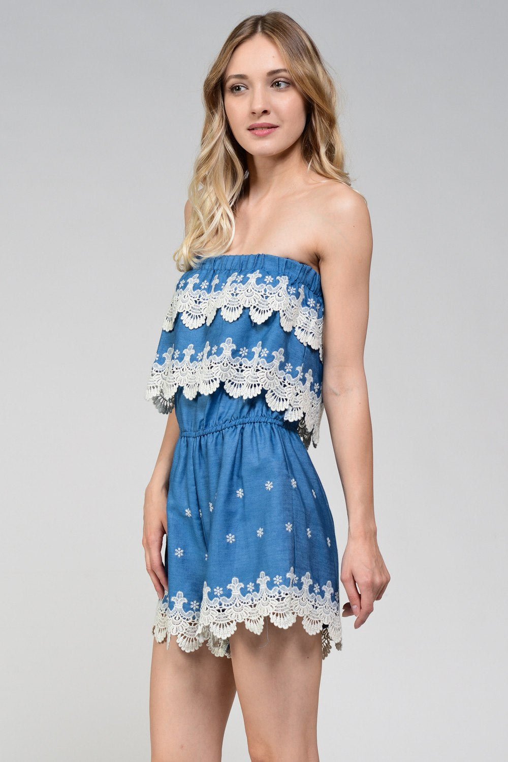 Crochet Scallop Lace Trim Denim Romper