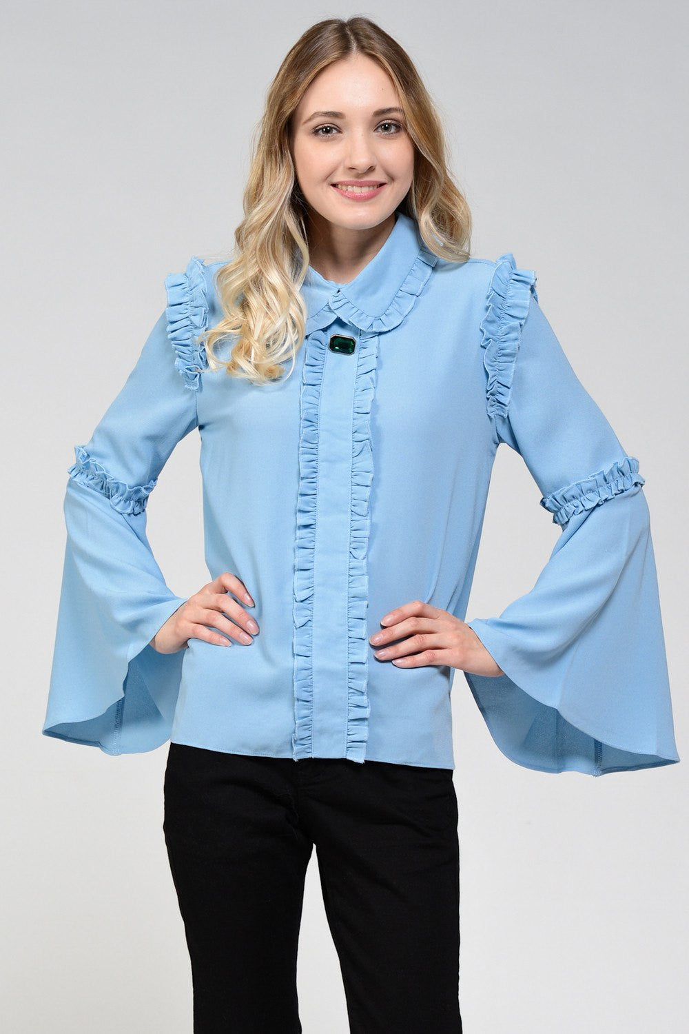 Blue Lagoon Ruffle Blouse by Sister Jane