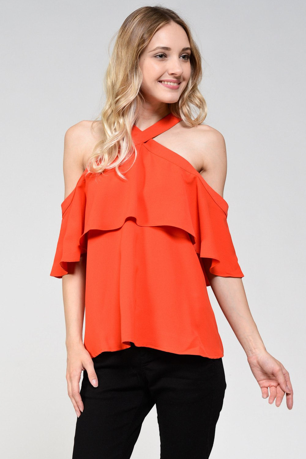 Rayna Cold Shoulder Ruffle Top