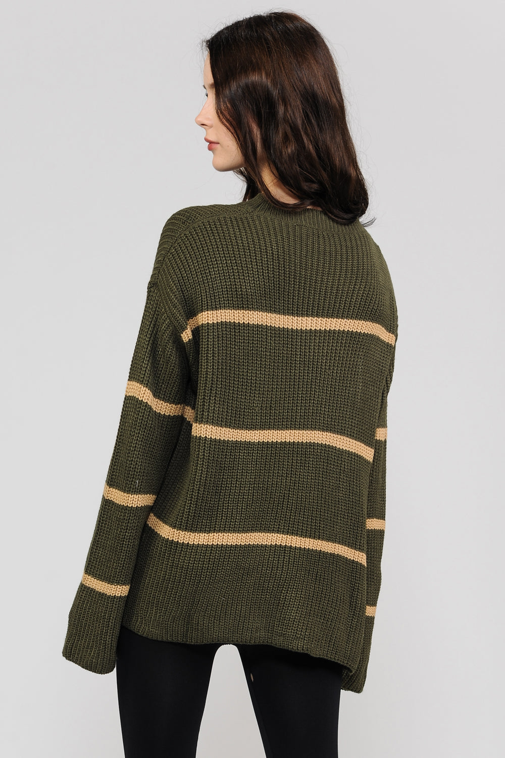 Olive Stripes Knit Sweater
