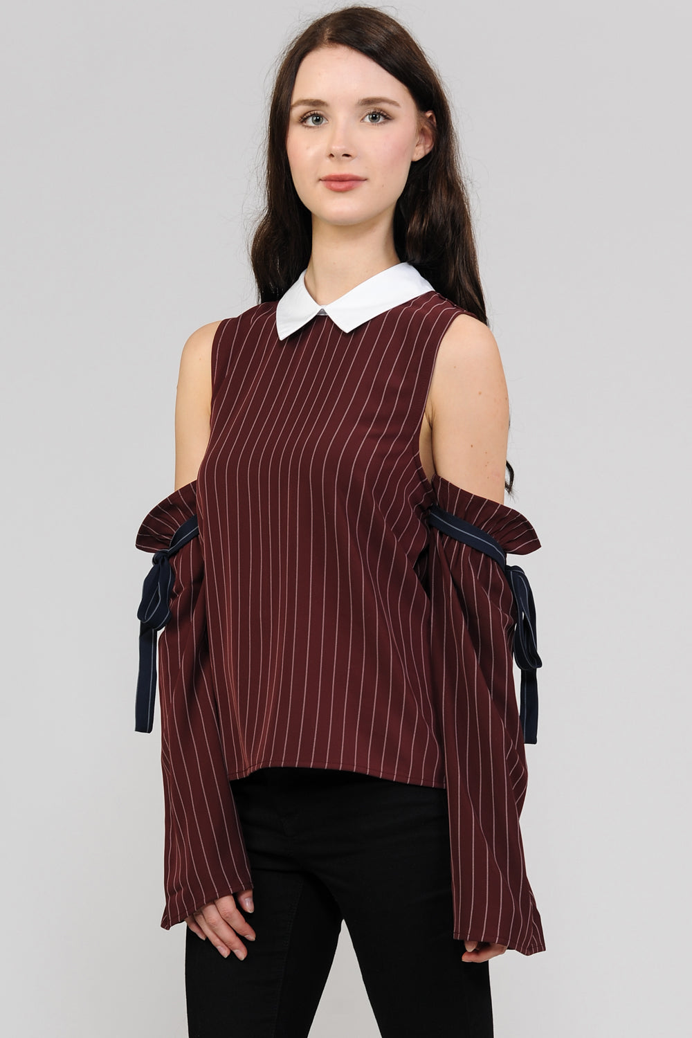 Cold Shoulder Stripes Blouse
