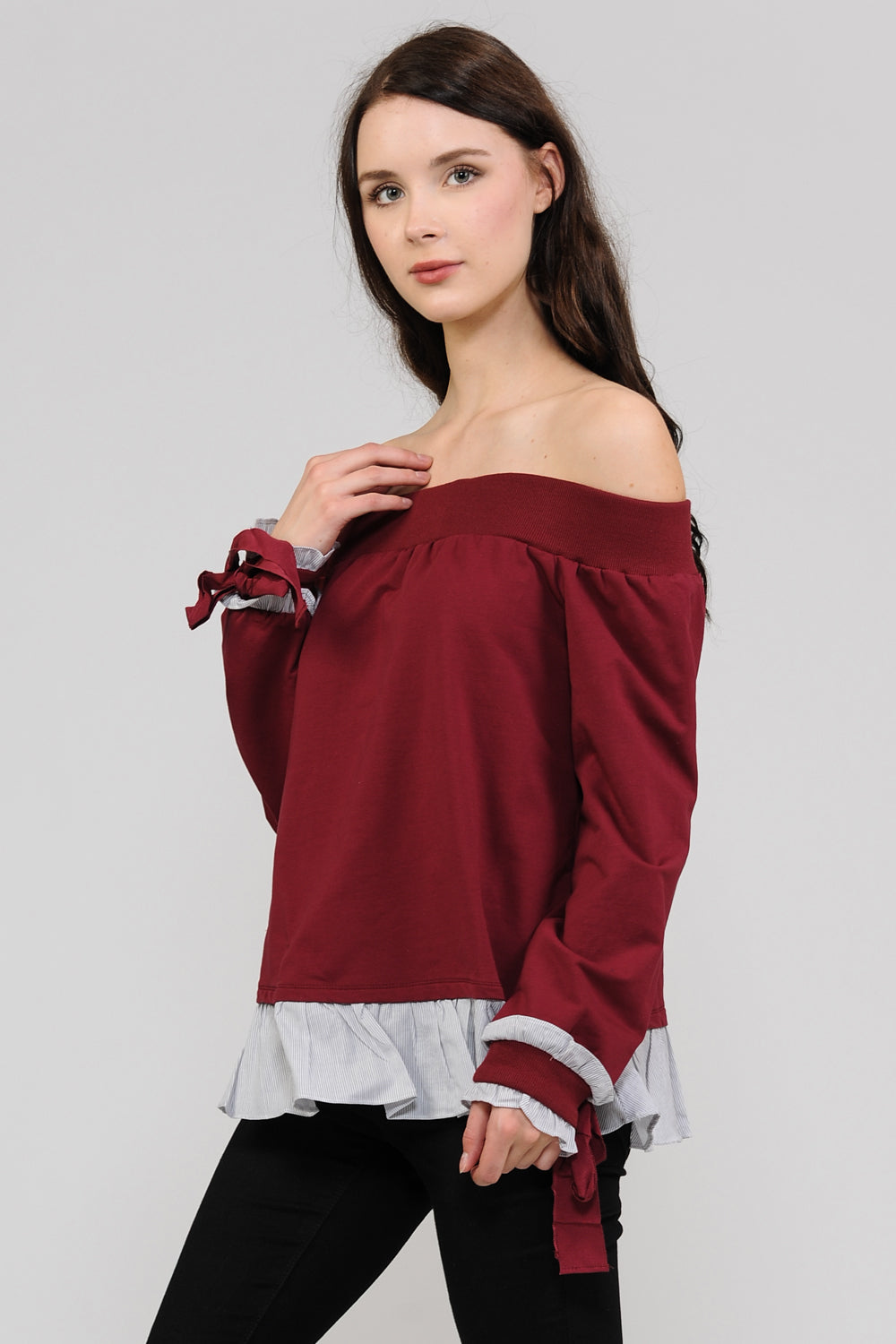 Burgundy OTS Sweater Top