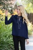 Navy Ribbon Tie Ruffle Blouse