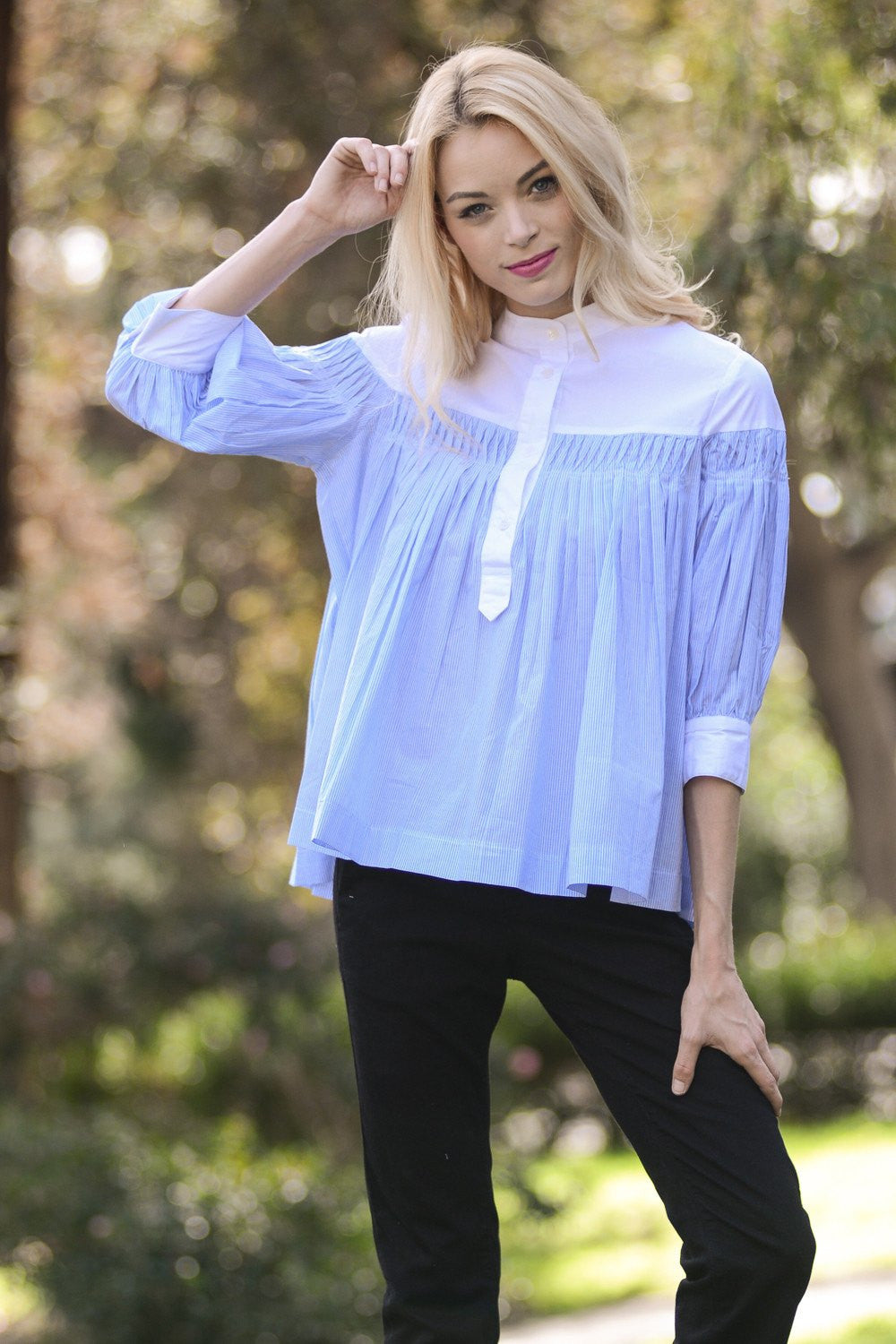Poplin Button Down Blouse