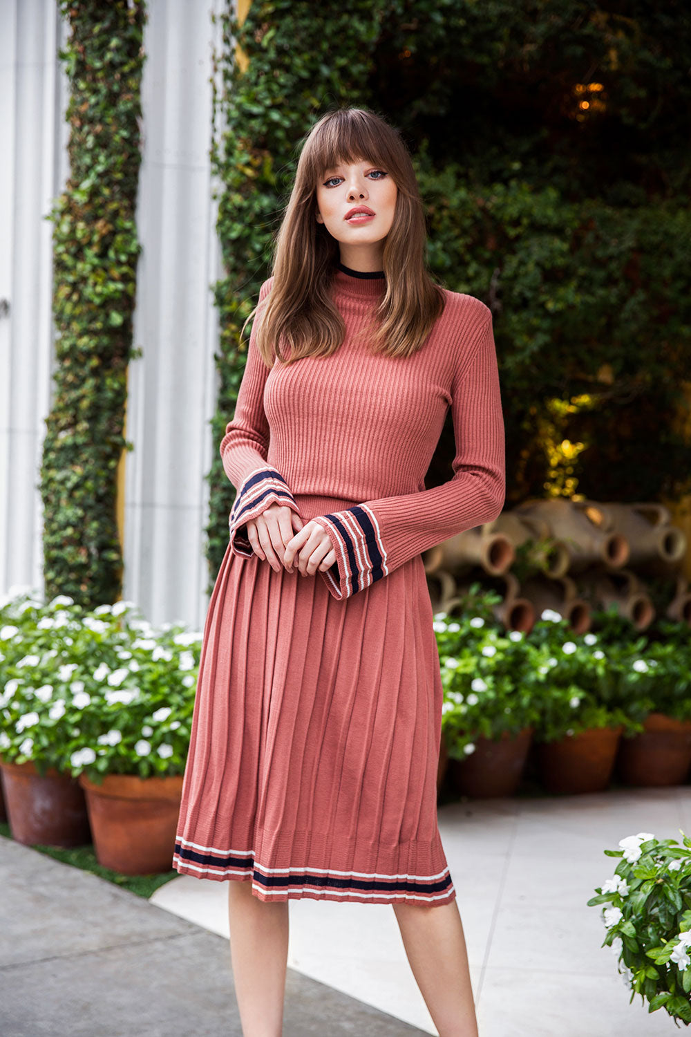 Pleated Rib Knit Skirt