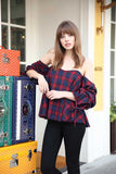 Plaid Ruched Balloon Sleeve OTS Top