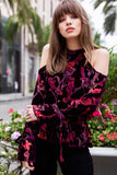 Burnout Velvet Cold Shoulder Top