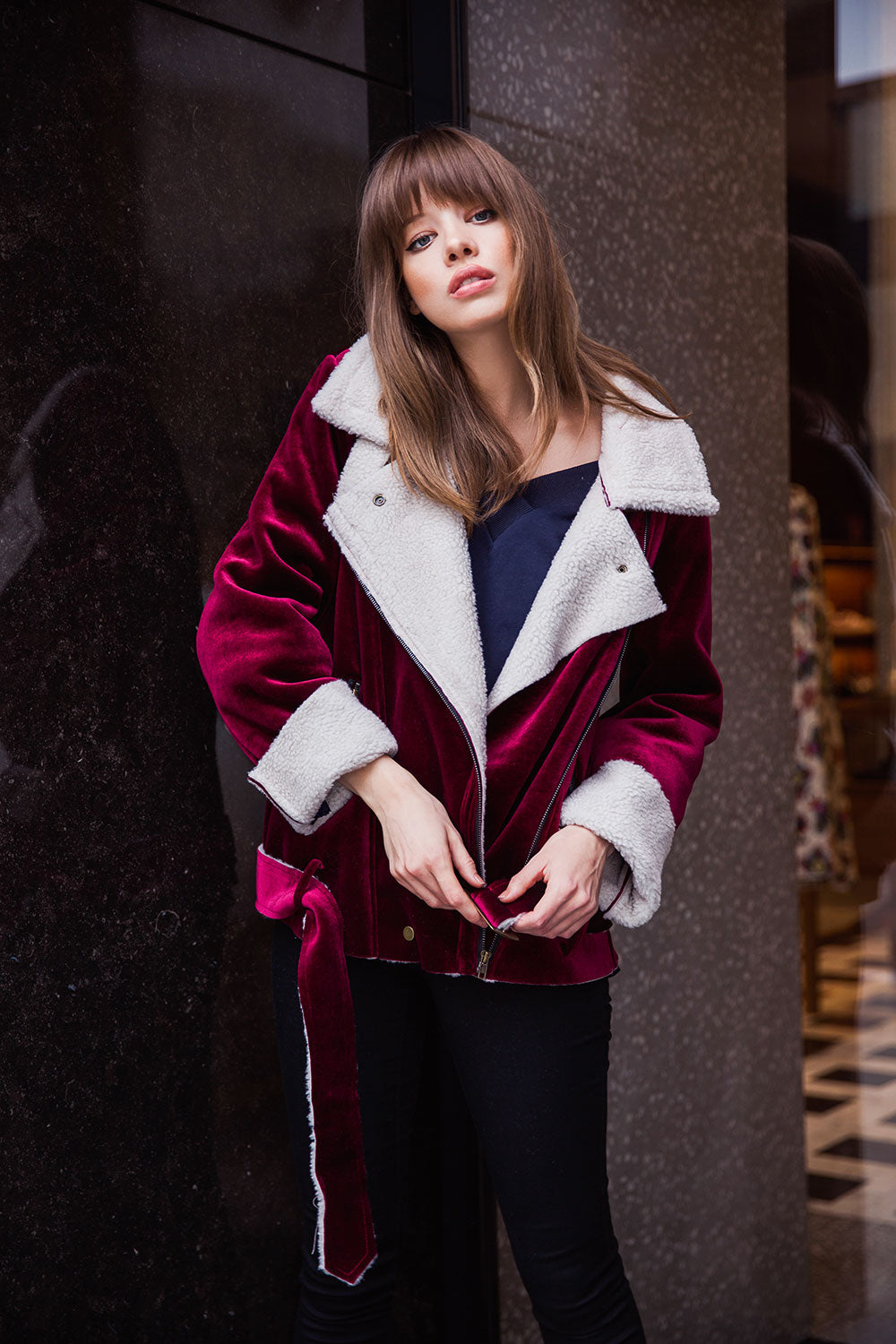 Velour Shearling Coat