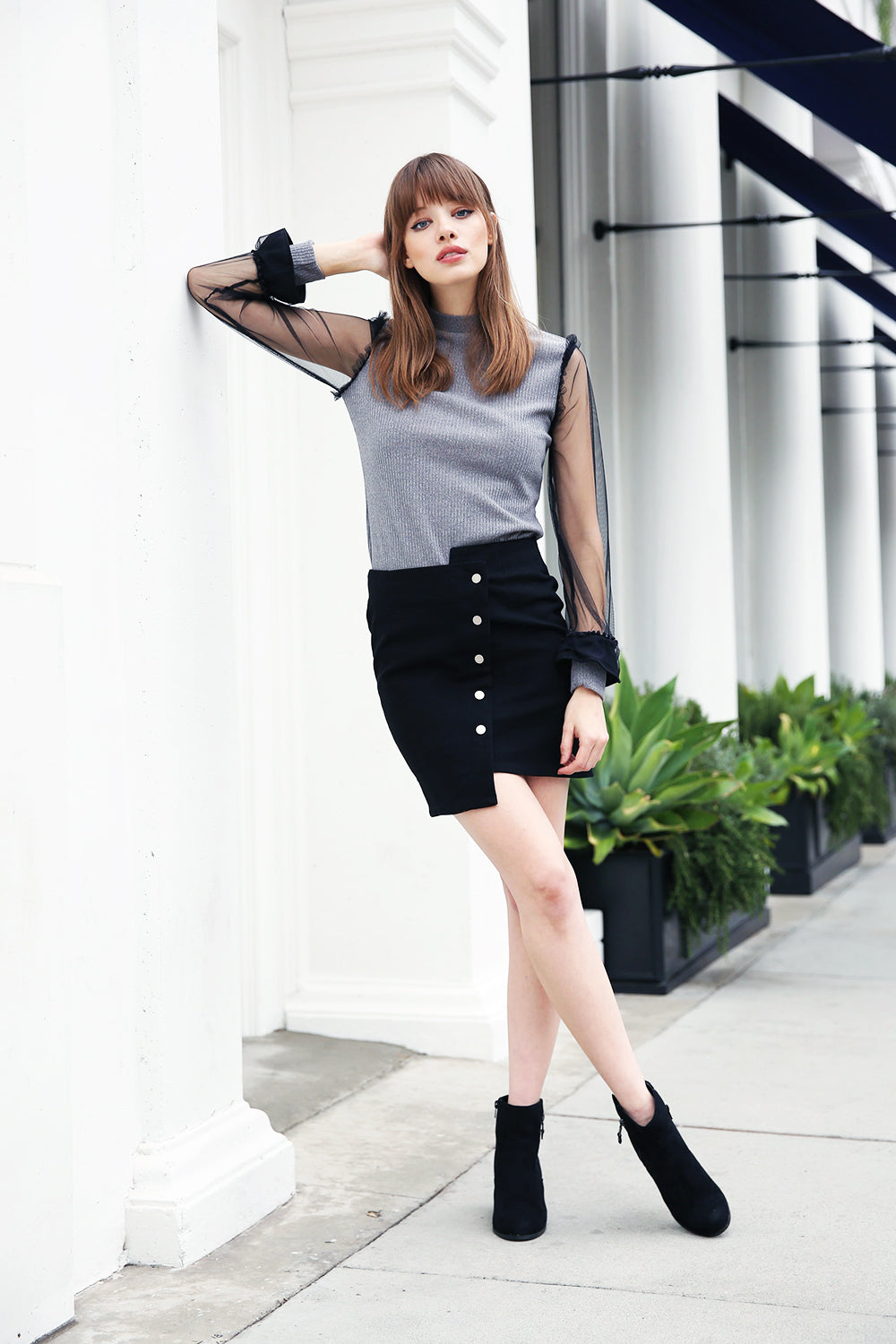 Asymmetric Button Up Skirt