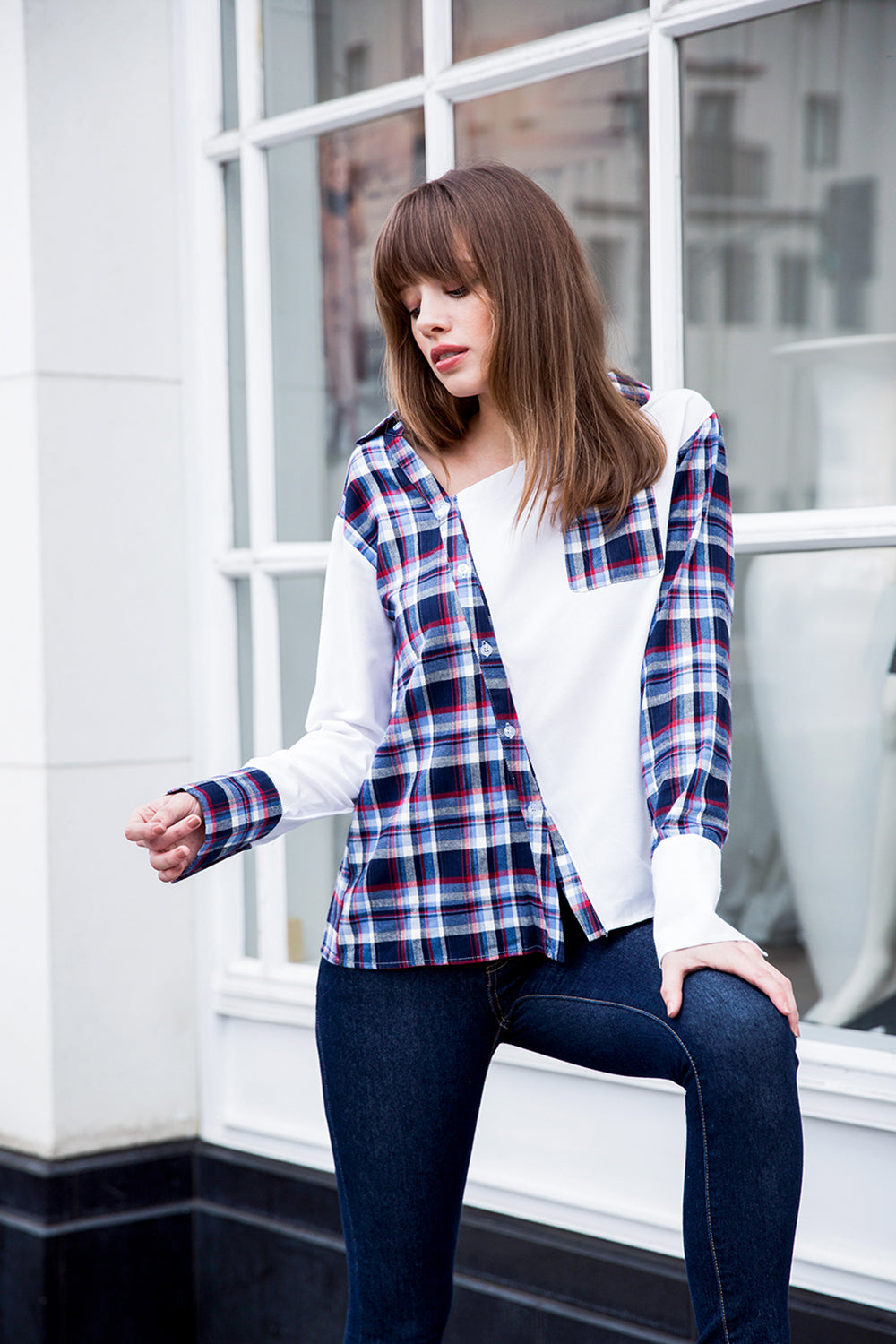 Multi Plaid Button Top