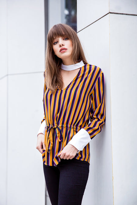 OTS Contrast Sleeve Top