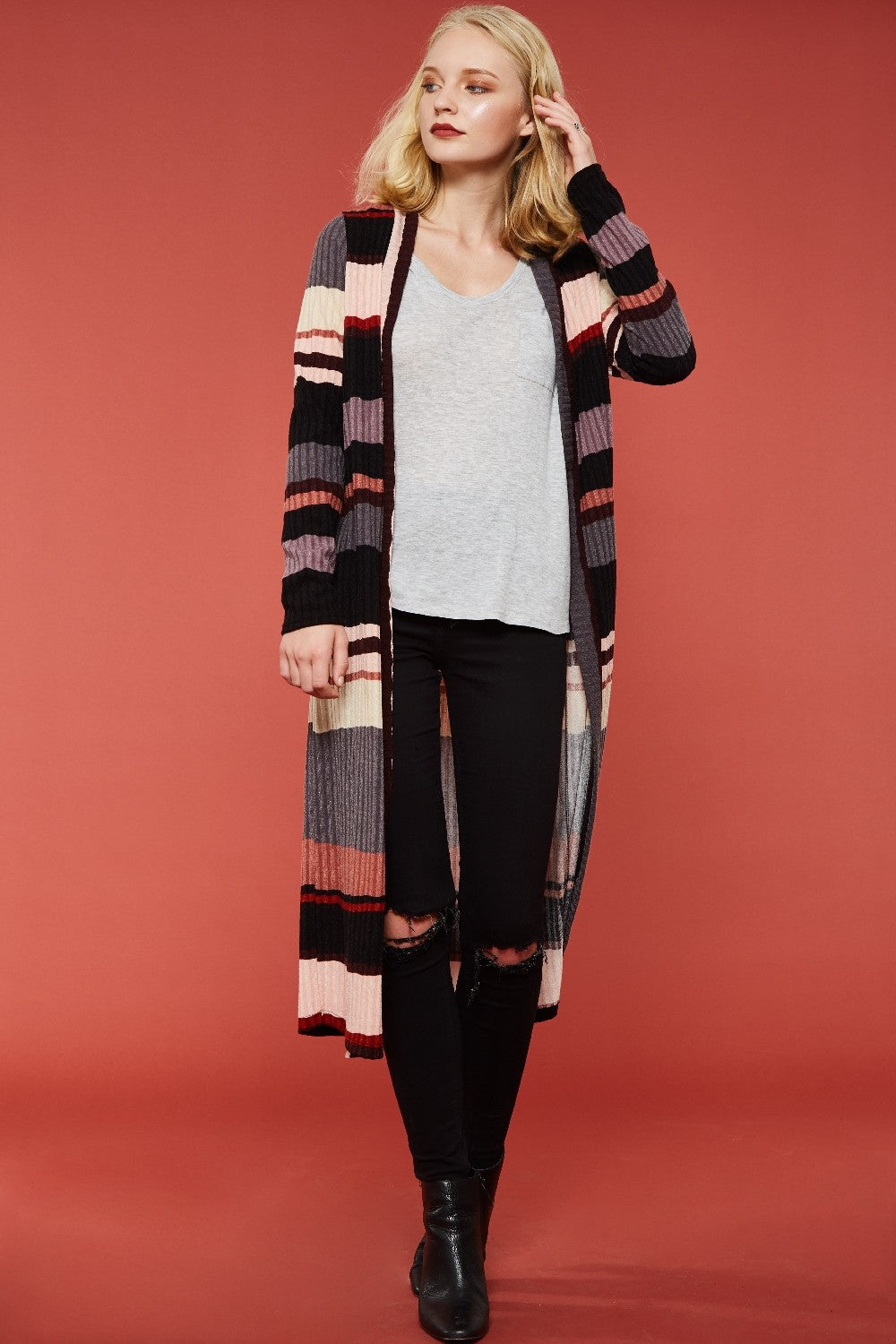 Multi Stripe Silhouette Cardigan Jacket