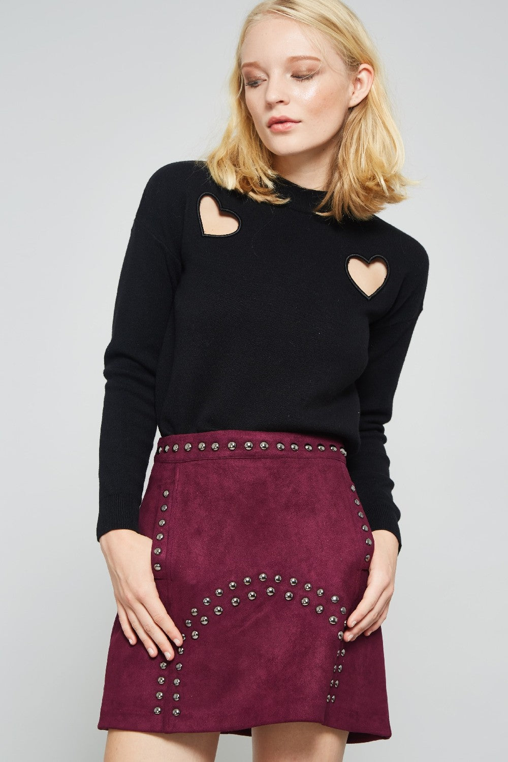 Studs Suede Mini Skirt