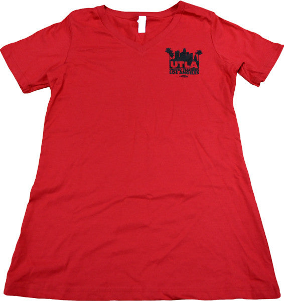 UTLA Women's Red V-Neck Tee