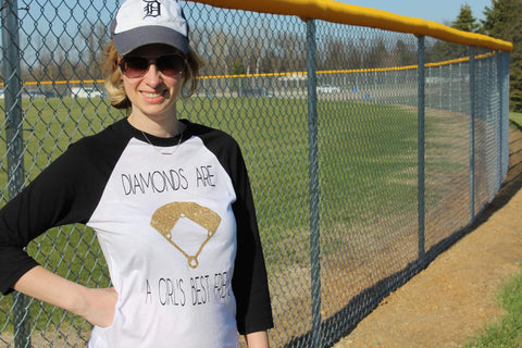 Baseball Diamonds are Girl's Best Friend- Baseball Shirt - J and D Gifts