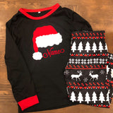 Black Santa Hat Personalized Family Christmas Pajamas - J and D Gifts