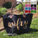 Wifey Black Nylon Honeymoon Tote Bag - J and D Gifts