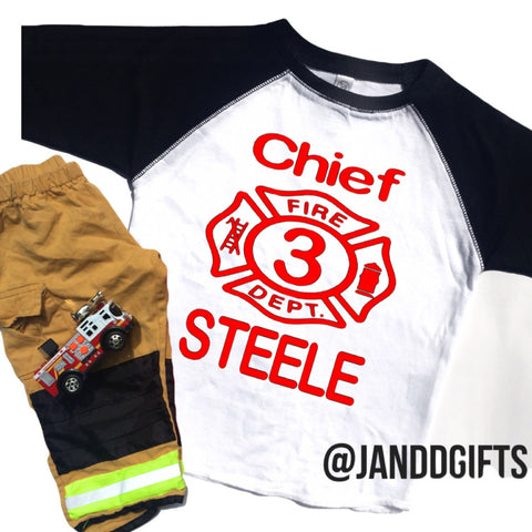 Fire Chief Birthday Baseball Tee - J and D Gifts