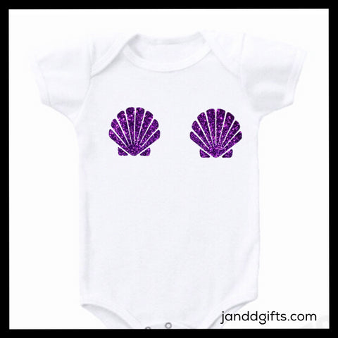 Mermaid Shell Bra Shirt or Onesie - J and D Gifts