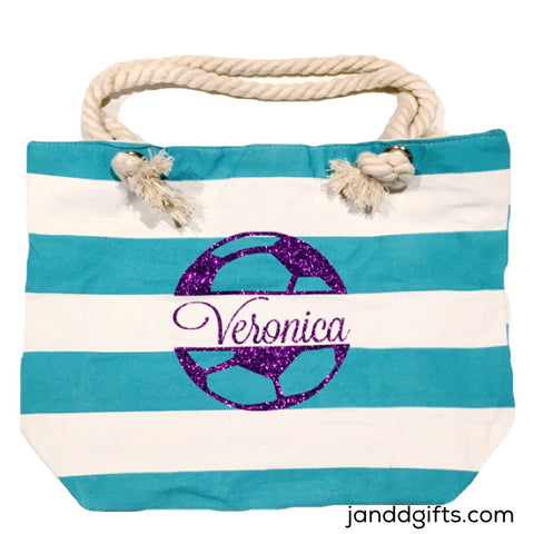 Girls Personalized Soccer Tote Bag - J and D Gifts