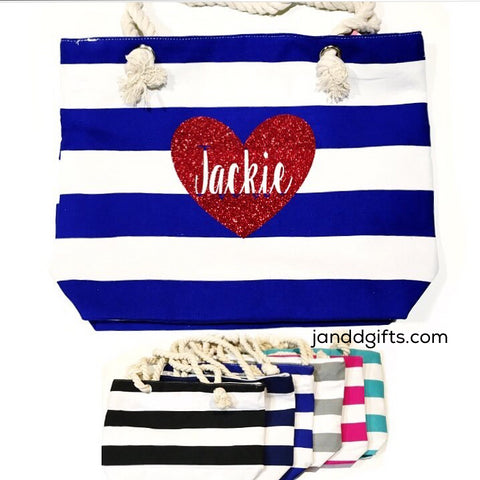 Personalized Heart Canvas Tote - J and D Gifts