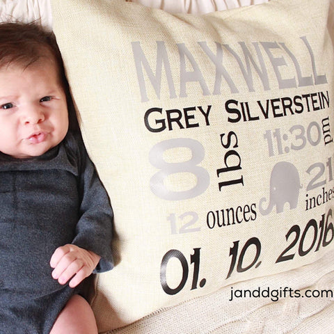 Birth Announcement Pillowcase (Boy) - J and D Gifts