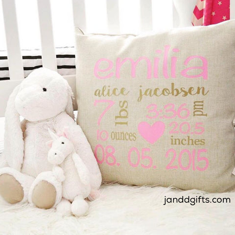 Girl Birth Stats Pillow