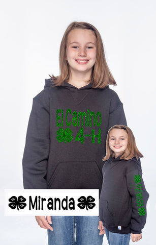 4H Youth or Adult Hoodie WITH NAME - J and D Gifts