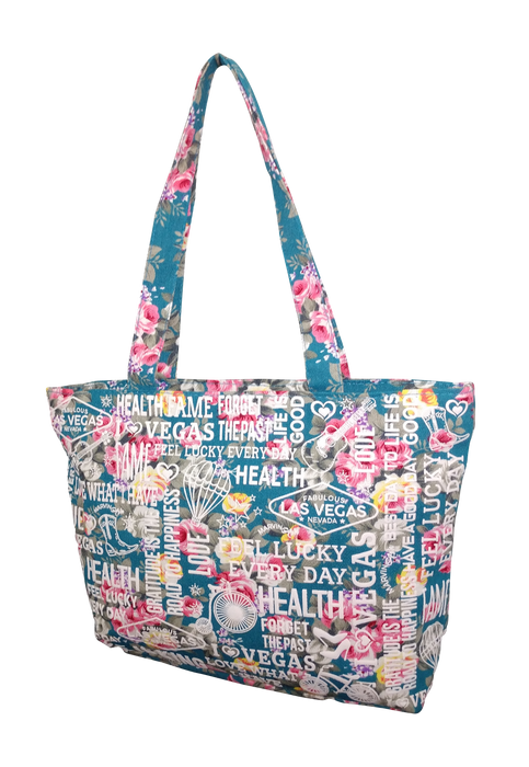 FLORAL BEACH BAG TOTE (BLUE0