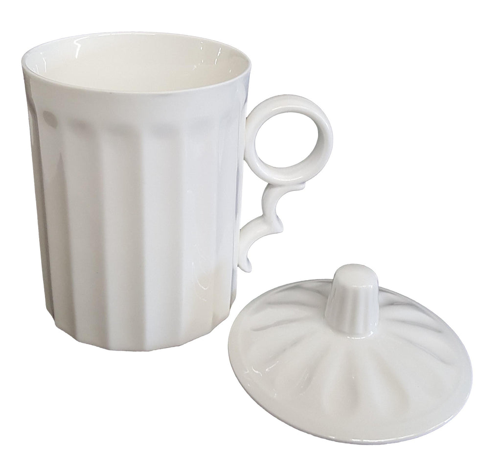 Tea mug - Vertical Carved White