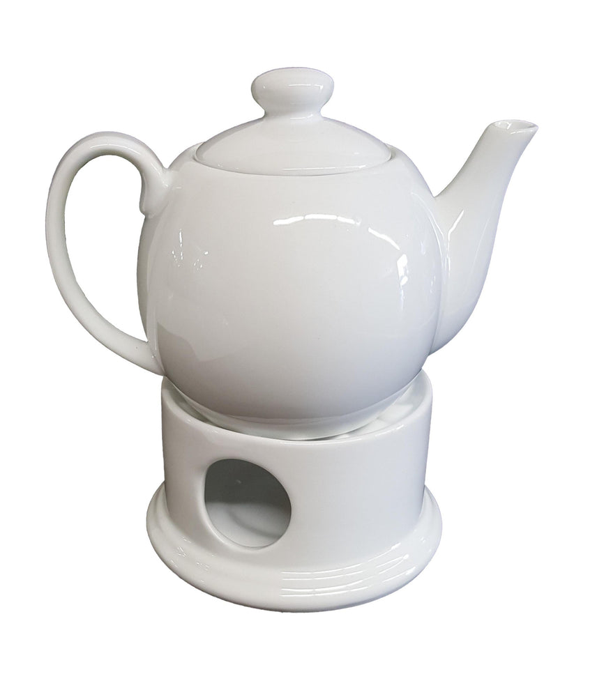 Tea pot & Warmer set - white