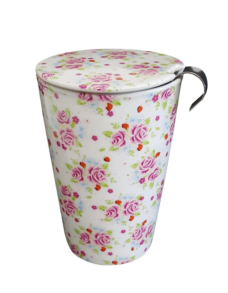 Tea mug - red & pink flower