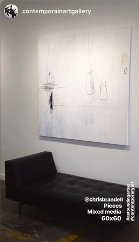 Pieces painting by Chris Brandell hanging at contemporain gallery