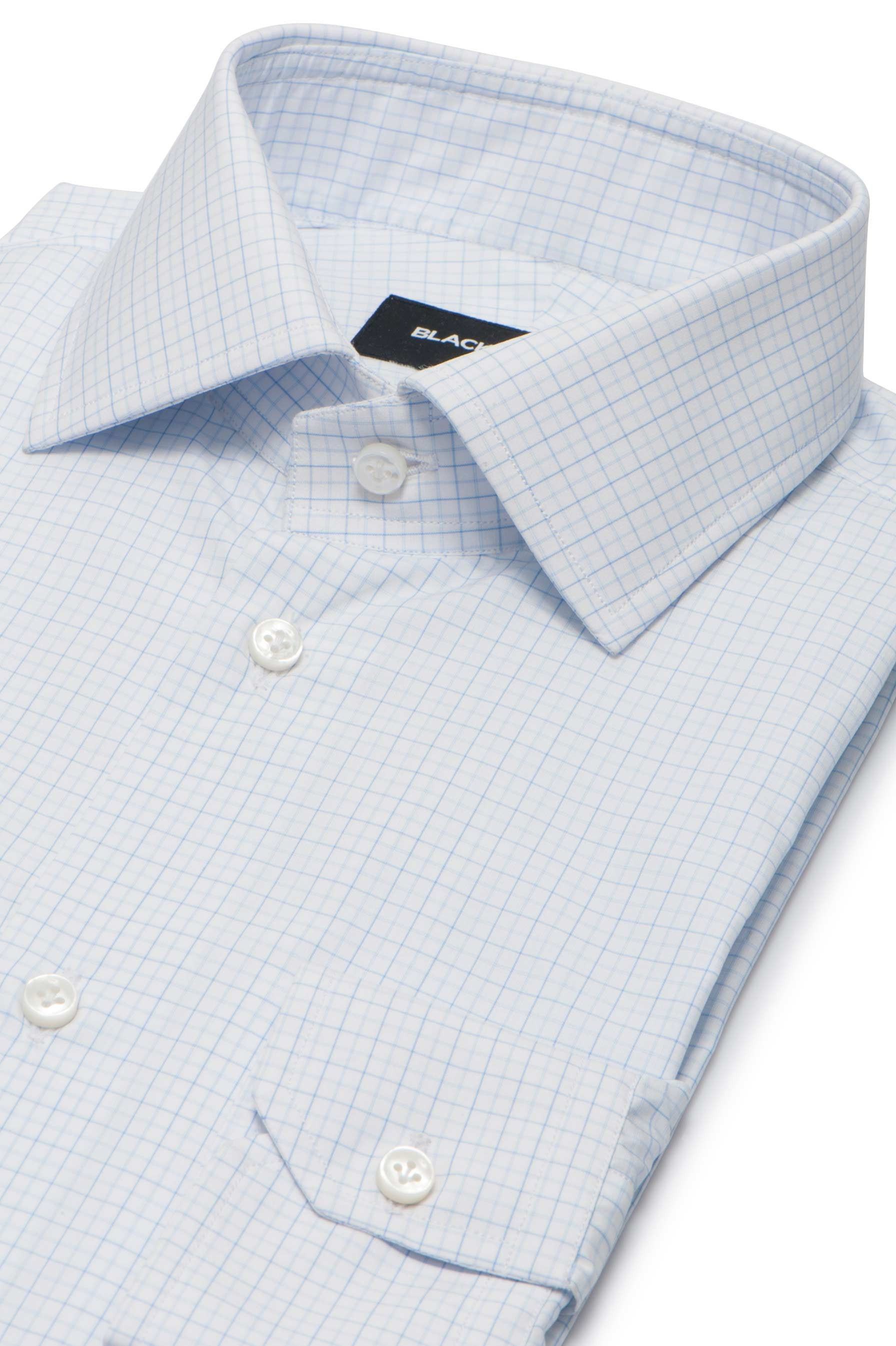 Light Blue Check Dress Shirt - Thomas Mason Goldline 140s