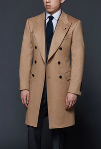 Double Breasted Camel Cashmere Overcoat