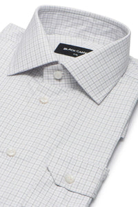 Grey Check Dress Shirt - Thomas Mason Goldline 140s