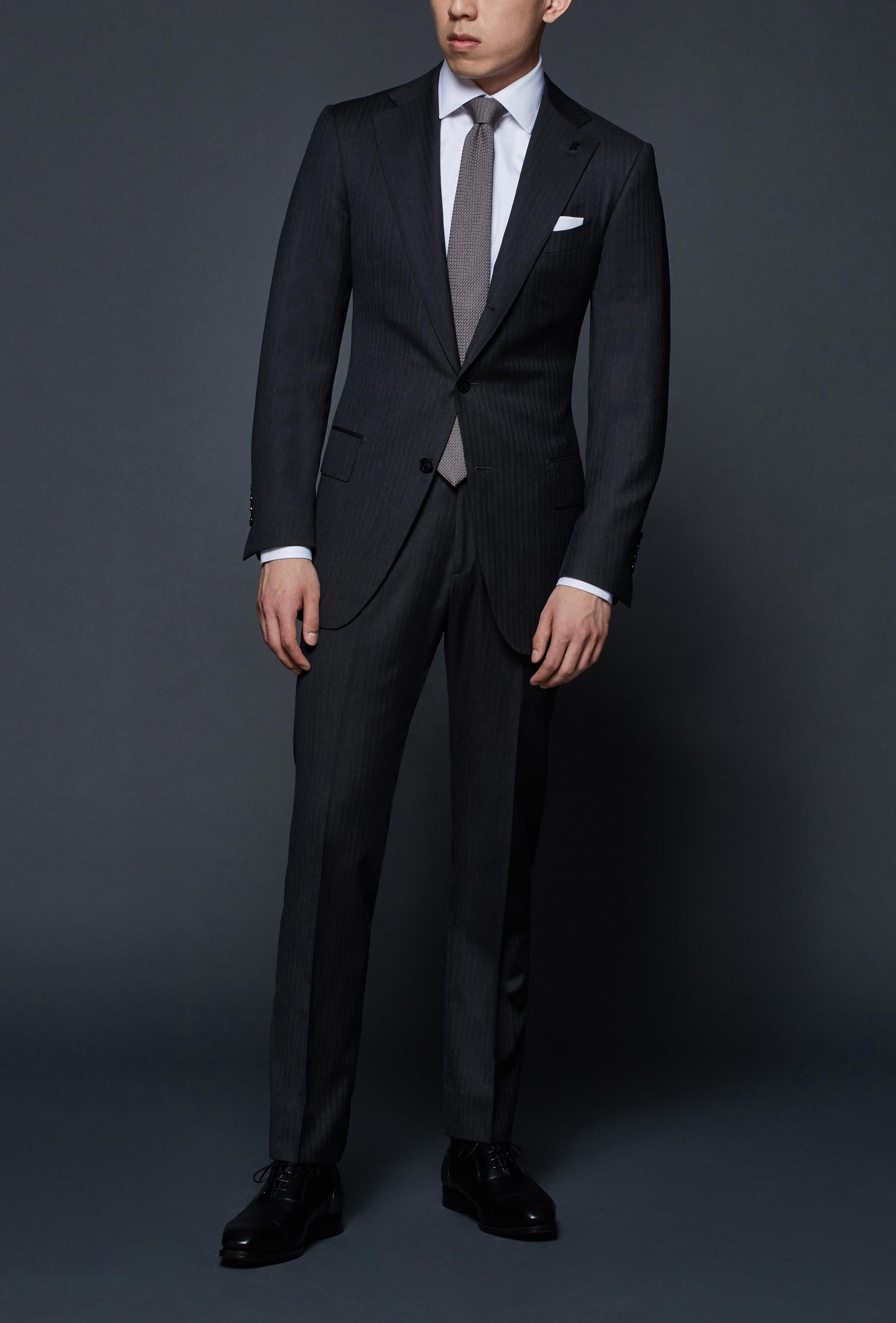Charcoal Herringbone Notch Lapel Suit