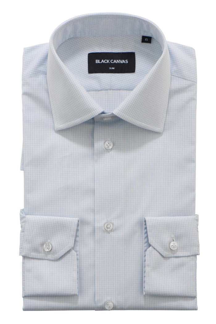 Light Blue Grid Check Dress Shirt