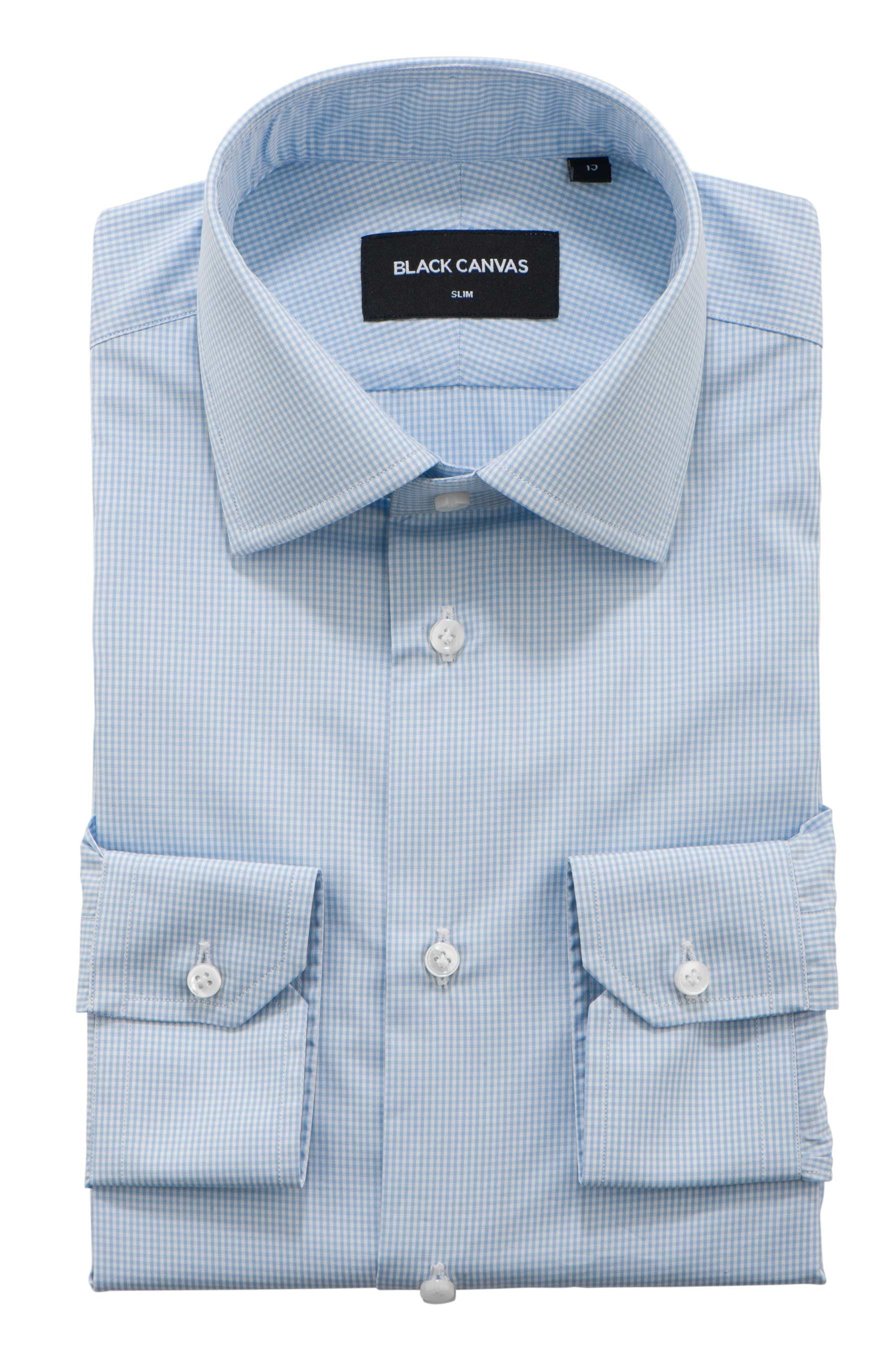 Blue Micro Gingham Dress Shirt