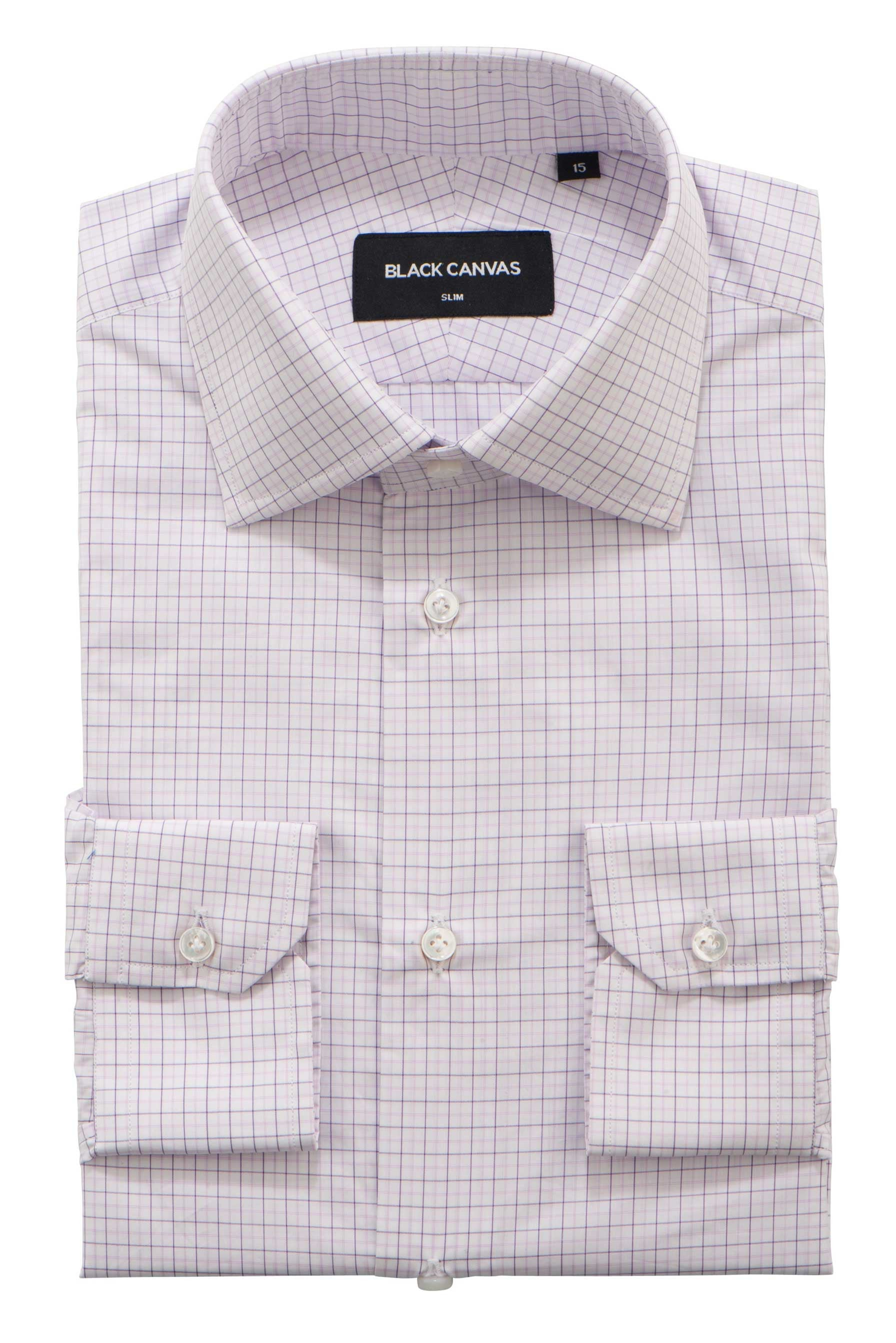Purple Check Dress Shirt - Thomas Mason Goldline 140s