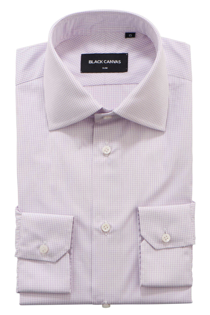 Purple Grid Check Dress Shirt