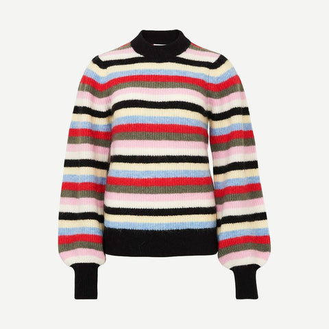 Striped Rib-Knit Sweater In Pink, Sweaters, Ganni, - Galvanic.co