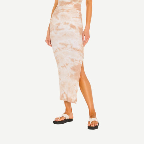 Silk Rib Slit Pencil Skirt in Sand Ionic