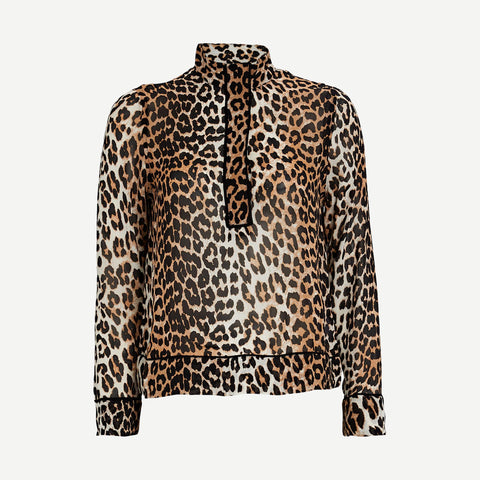 Leopard Printed Georgette Blouse - Galvanic.co