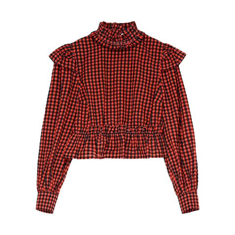 Seersucker Check Cropped Blouse - Galvanic.co
